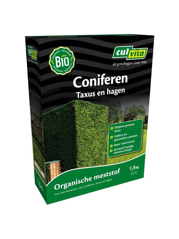 Culvita Coniferen meststof is voor alle groenblijvende heesters en hagen. Deze planten hebben extra magnesium nodig. In deze biologische meststof is dit in de juiste verhouding aanwezig. Dit zorgt voor gezonde groei en een diepgroene bladkleur. De toegevoegde bodemschimmels zorgen voor een gezonde haag.